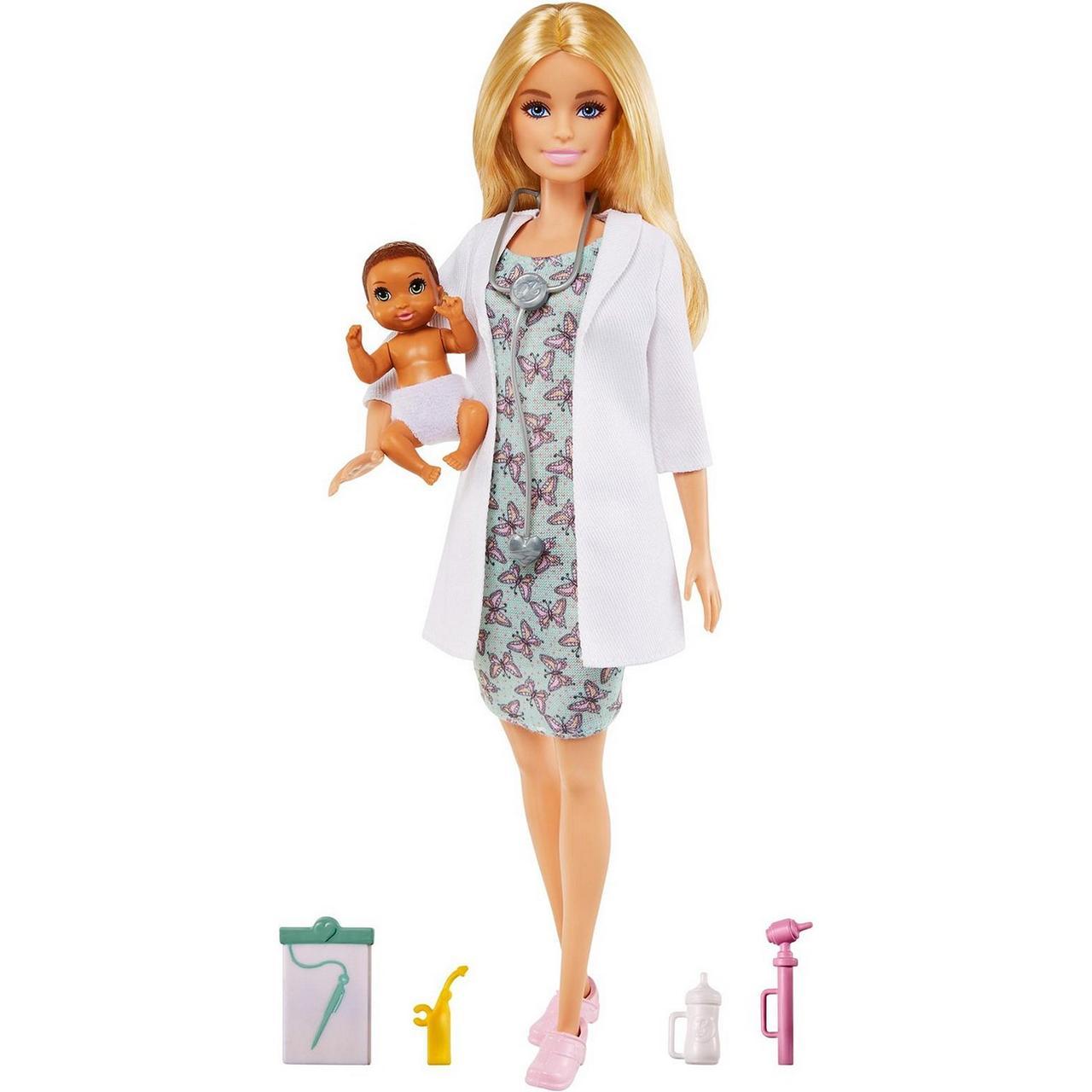 """Barbie """"Профессии"""" Кукла Барби Детский врач с малышом-пациентом, Кем быть?"""