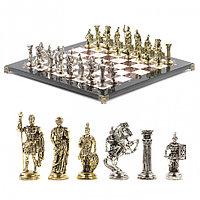 """Сувенирные шахматы с металлическими фигурами """"Римские воины"""" доска 44х44 см из камня"""