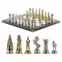 """Сувенирные шахматы с металлическими фигурами """"Средневековые рыцари"""" доска 44х44 см из камня"""