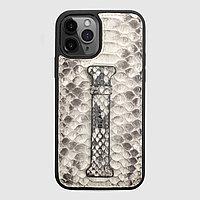 Чехол для телефона iPhone 12/12 Pro с ремешком-держателем питон натуральный