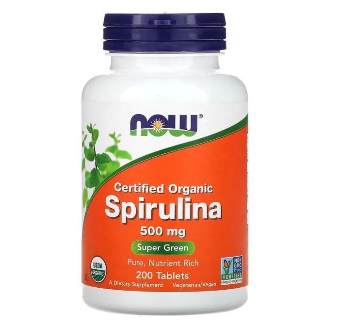 Now Foods, сертифицированная органическая спирулина, 500 мг, 200 таблеток