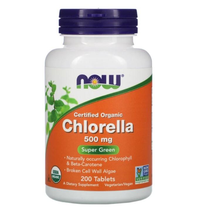 Now Foods, Сертифицированная органическая хлорелла, 500 мг, 200 таблеток