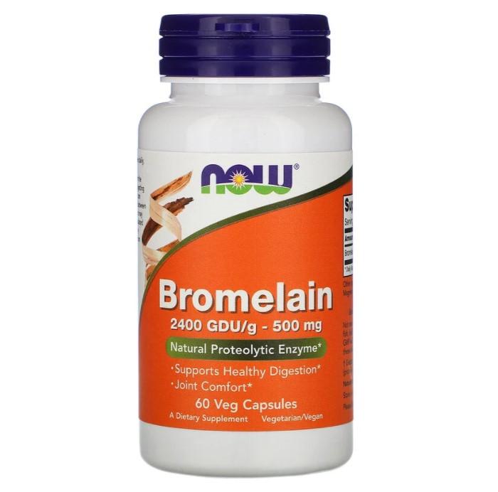 Now Foods, Bromelain, 500 мг, 60 растительных капсул