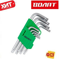 Набор ключей Torx T10-T50 9шт коротких ВОЛАТ (11025-09)