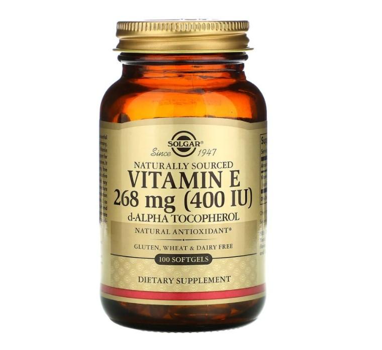 Solgar, натуральный витамин E, 268 мг (400 МЕ), 100 капсул