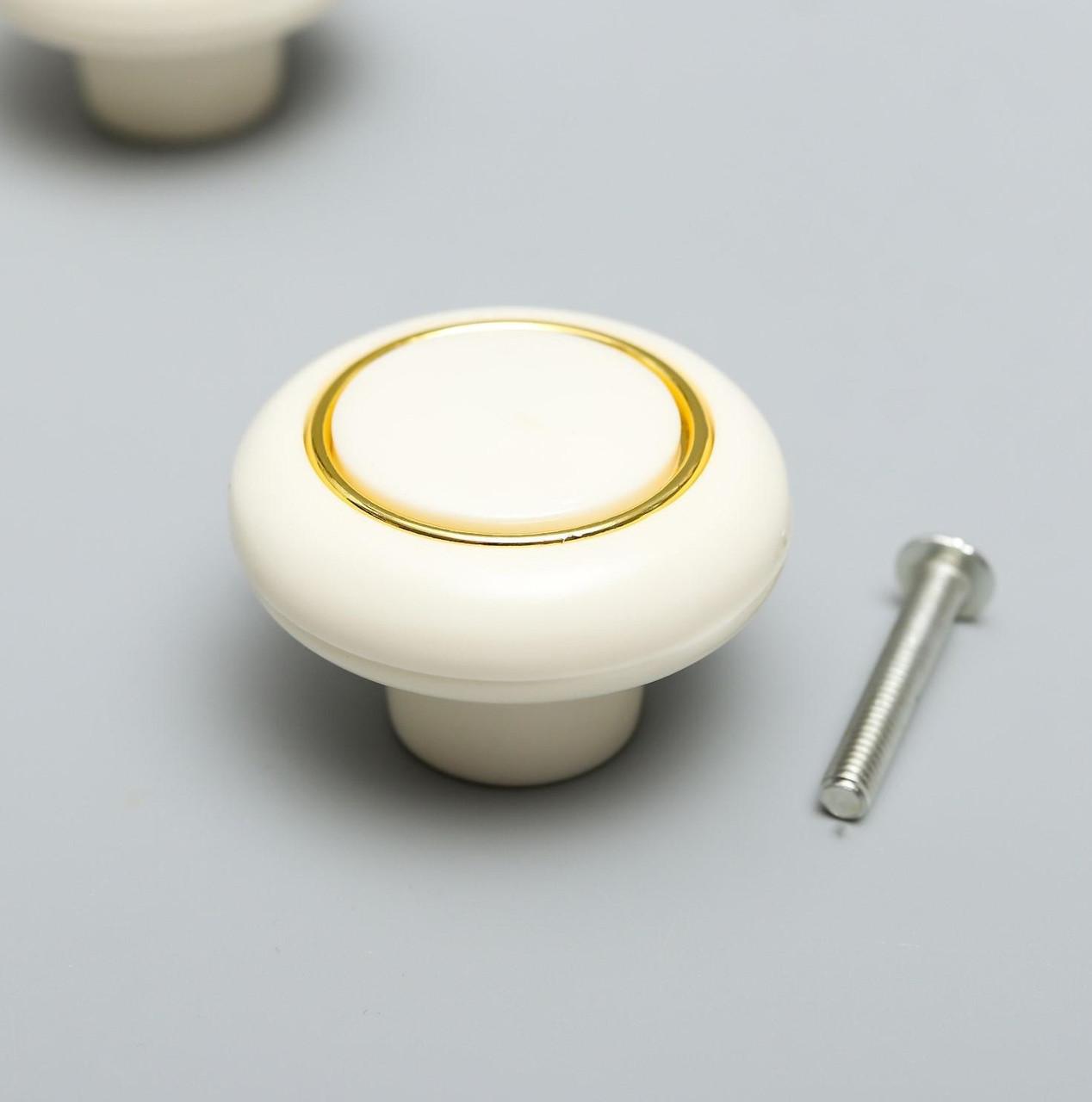 """Ручка для шкатулки пластик """"Ретро"""" белая с золотой полосой 2,7х3,8х3,8 см (2 шт)"""