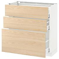 METOD МЕТОД / MAXIMERA МАКСИМЕРА Напольный шкаф с 3 ящиками, белый/Аскерсунд под светлый ясень, 80x37 см