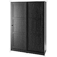 RAKKESTAD РАККЕСТАД Гардероб с раздвижными дверями, черно-коричневый, 117x176 см