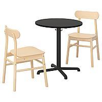 STENSELE СТЕНСЕЛЕ / RÖNNINGE РЁННИНГЕ Стол и 2 стула, антрацит/антрацит береза, 70 см