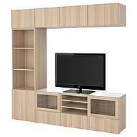 None Шкаф для ТВ, комбин/стеклян дверцы, Лаппвикен/Синдвик под беленый дуб, прозрачное стелко, 240x40x230 см