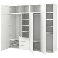 OPPHUS ОПХУС Гардероб с 7 дверями/3 ящиками, белый/Саннидаль Ридабу, 240x57x221 см