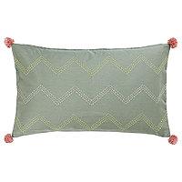 MOAKAJSA МОАКАЙСА Чехол на подушку, ручная работа зеленый/розовый, 40x65 см