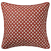 SNÖBRÄCKA СНЁБРЭККА Чехол на подушку, красный белый/цветочный орнамент, 50x50 см