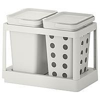 HÅLLBAR ХОЛЛБАР Решение для сортировки мусора, с выдвижным модулем вентилируемый/светло-серый, 20 л