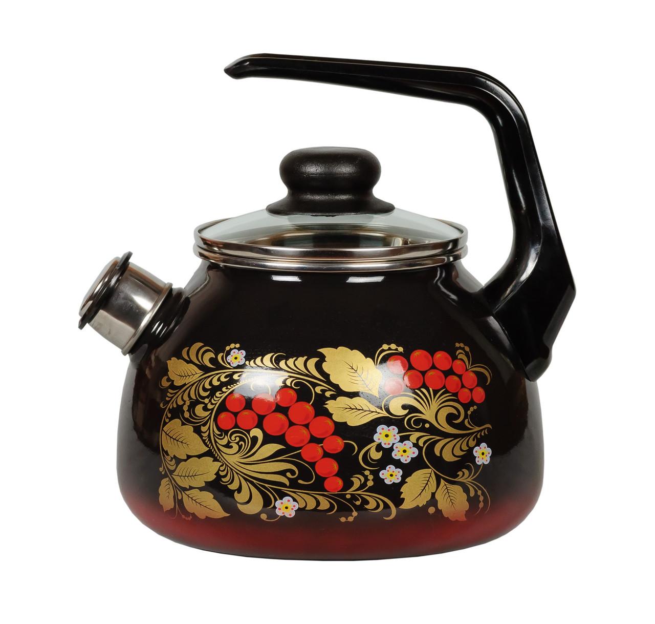 """Чайник эмалированный со свистком """"Рябина"""" 2 литра"""
