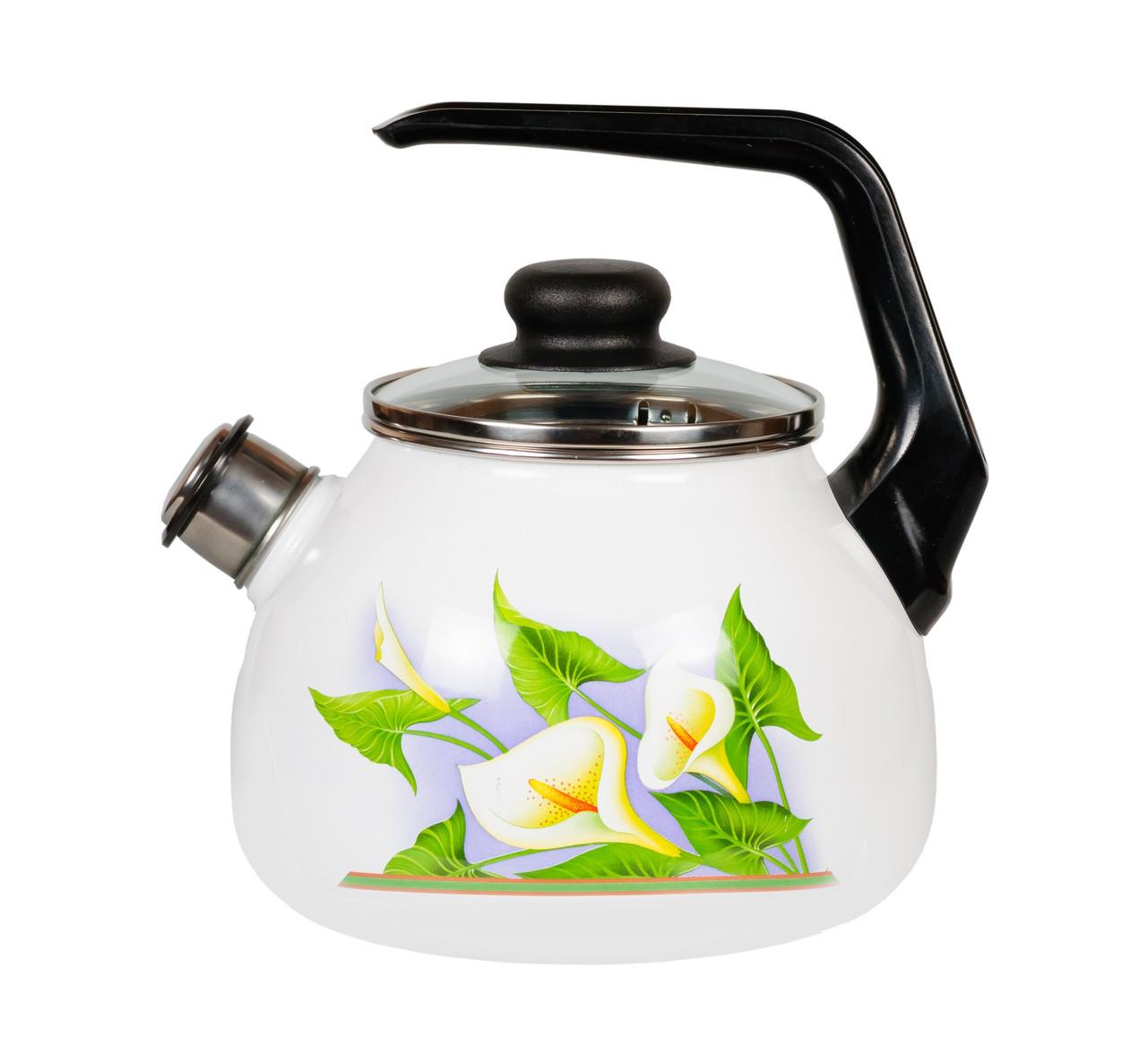 """Чайник эмалированный со свистком """"Каллы"""" 2 литра"""