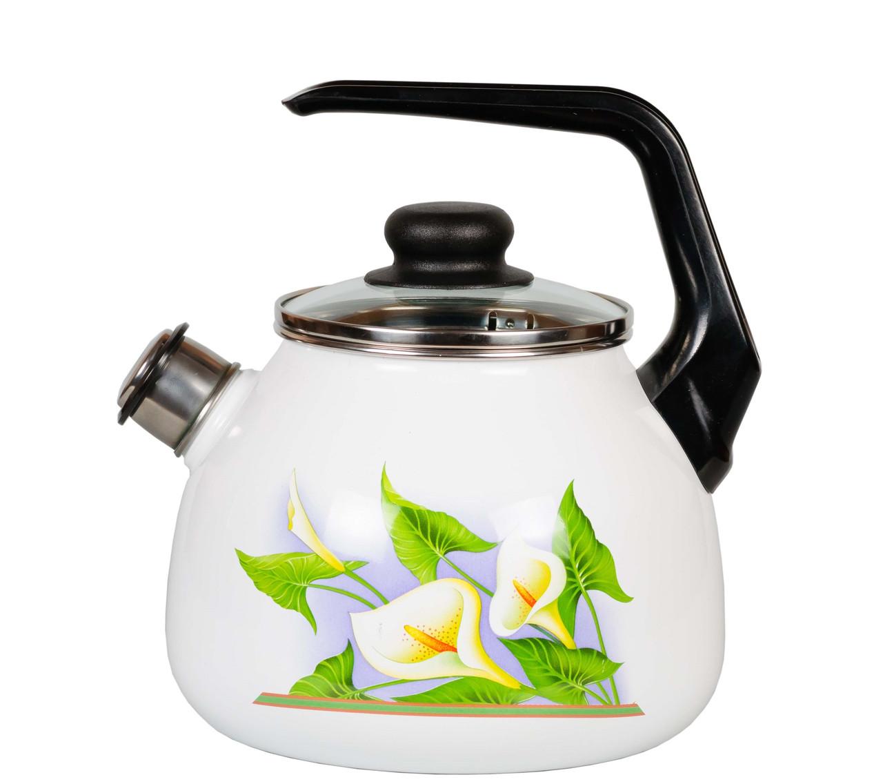 """Чайник эмалированный со свистком """"Каллы"""" 3 литра"""