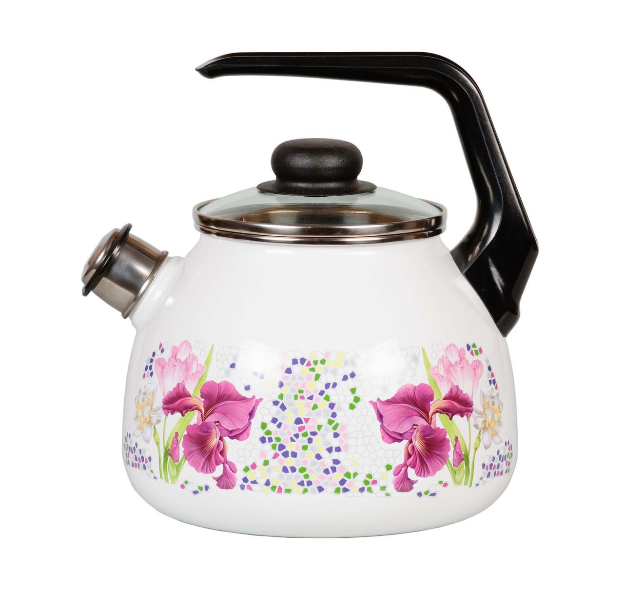 """Чайник эмалированный со свистком """"Мозаика"""" 3 литра"""