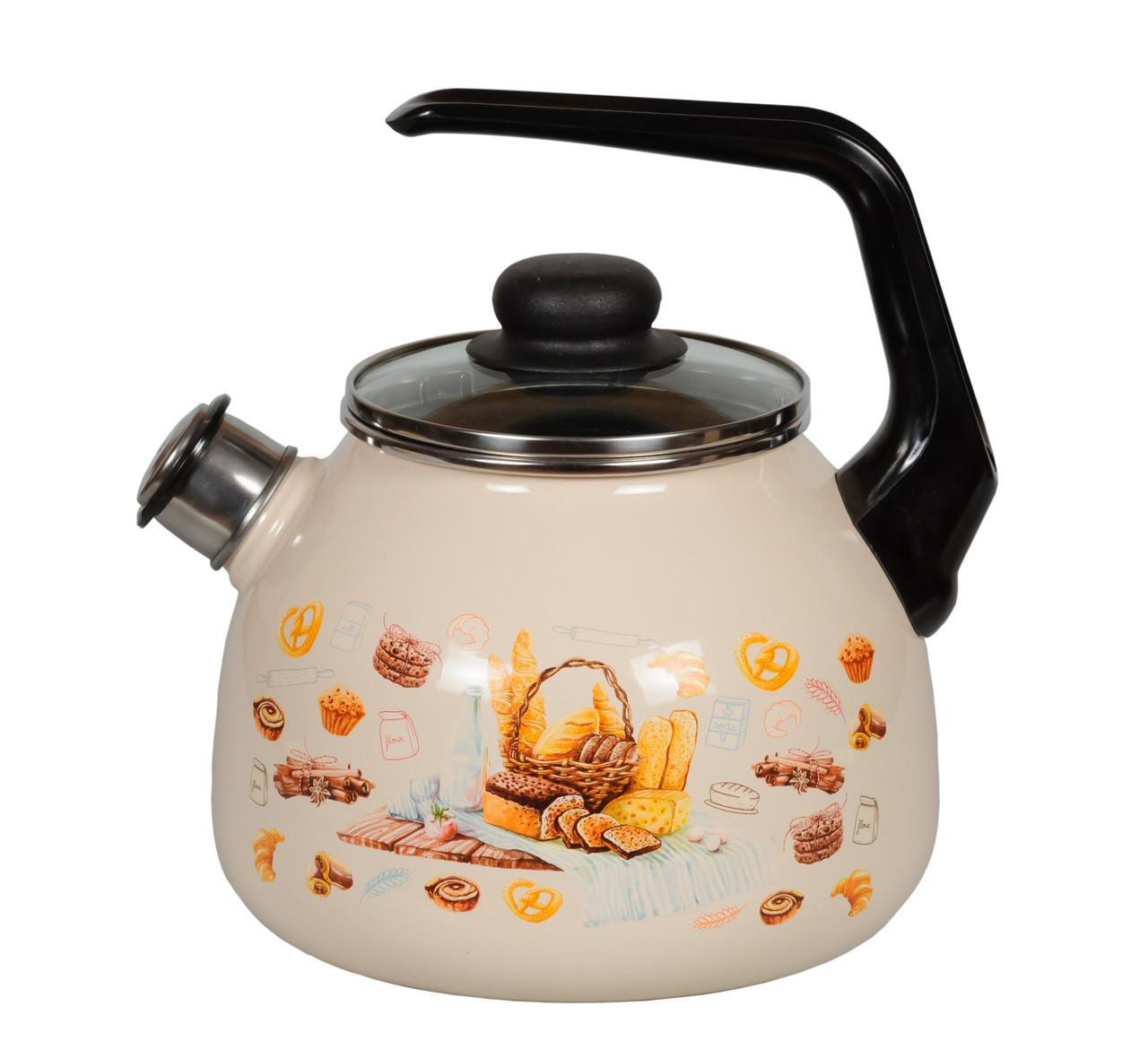 """Чайник эмалированный со свистком """"Хлеб"""" 3 литра"""