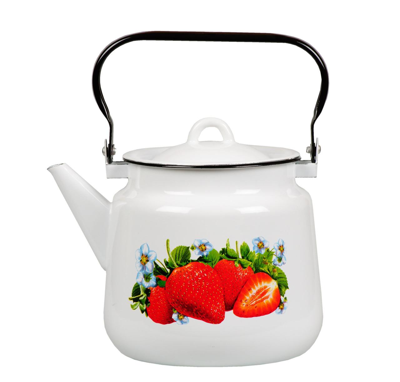 """Чайник эмалированный """"Клубника садовая"""" 3,5 литра"""