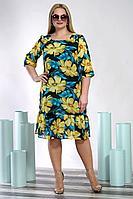 Женское осеннее шифоновое большого размера платье Alani Collection 1347.1 54р.