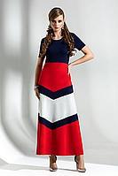 Женское осеннее трикотажное платье Diva 1283 синий-красн-бел 52р.