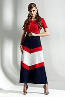 Женское осеннее трикотажное платье Diva 1284 синий-красн-бел 48р.