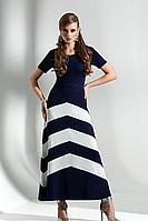 Женское осеннее трикотажное синее платье Diva 1285 син-бел 50р.