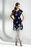 Женское осеннее хлопковое синее платье Diva 1286 син-бел 52р.
