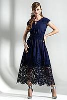Женское осеннее хлопковое синее платье Diva 1286-1 синий 48р.