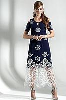 Женское осеннее хлопковое синее большого размера платье Diva 1287 син-бел 54р.
