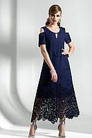 Женское осеннее хлопковое синее большого размера платье Diva 1287-1 син 46р.