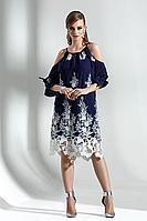 Женское осеннее хлопковое синее платье Diva 1288 син-бел 42р.