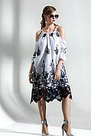 Женское осеннее хлопковое платье Diva 1288-1 бел-син 42р.