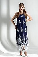 Женское осеннее хлопковое синее платье Diva 1289 син-бел 42р.