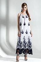Женское осеннее хлопковое платье Diva 1289-1 бел-син 42р.