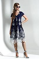 Женское осеннее хлопковое синее платье Diva 1290-1 син-бел 42р.