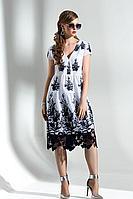 Женское осеннее хлопковое платье Diva 1290 бел-син 42р.