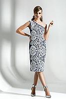 Женское осеннее хлопковое нарядное платье Diva 1293-1 белый 42р.