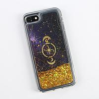 Чехол для телефона iPhone 7,8 с блёстками внутри Stars, 6.8 × 14 см