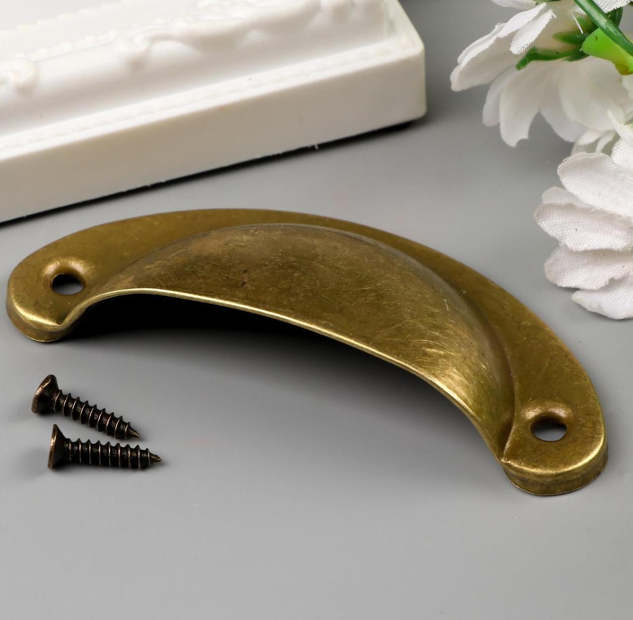 Ручка с шурупом, жёлтая бронза 3,5х8 см (5 штук)
