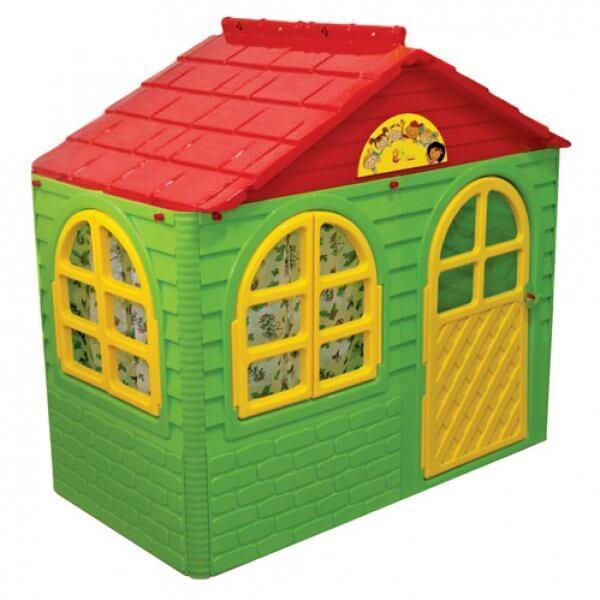 Детский домик с карнизами и шторками 129х69х120см