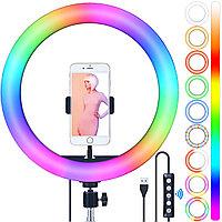 Кольцевая лампа 26 см RGB РАДУГА Штатив 2,1 метра и держатель для телефона