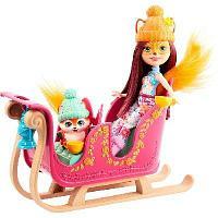 Набор игровой Enchantimals Рождественские сани кукла и питомец GJX31
