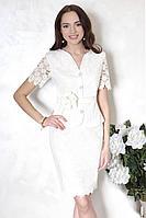Женский осенний кружевной белый деловой нарядный деловой костюм Chumakova Fashion 2034 44р.