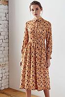 Женское осеннее из вискозы оранжевое платье Colors of PAPAYA 1456-А 42р.