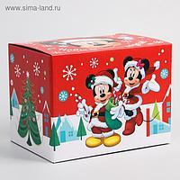 """Коробка подарочная складная """"С Новым Годом"""", Микки Маус, 20 × 15 × 14 см"""