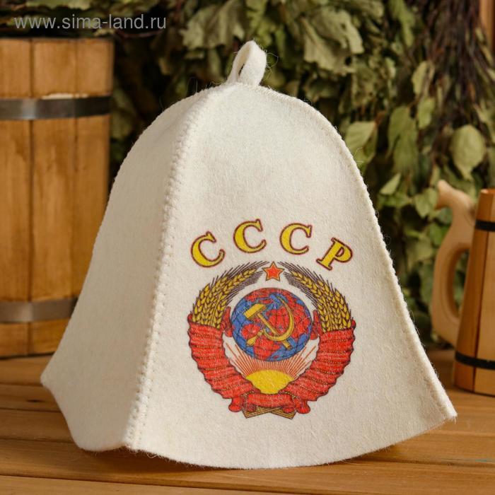 """Шапка для бани и сауны """"СССР"""", с принтом, белая - фото 1"""