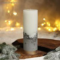 Свеча интерьерная белая с бетоном, низ золото, 26 х 8,5 см