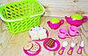 """Корзина повреждена!!! Sk63 A/b Сервиз чайный с сладостями в корзинке """"Play food Set"""" 26*21см"""